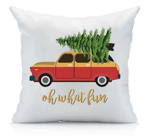Oh What Fun Christmas Throw Pillow Cover Multicolor (1 18 by 18 Inches) Christmas Gifts