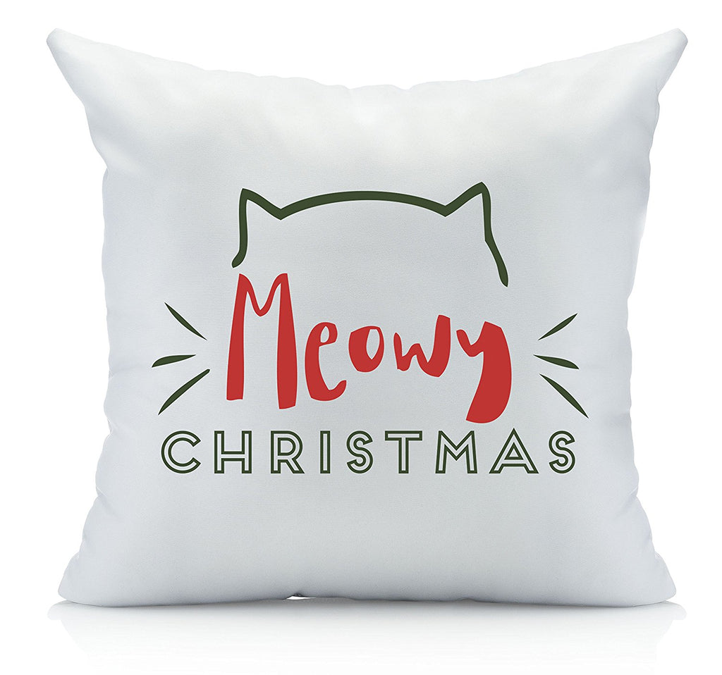 Meowy Christmas Throw Pillow Cover Multicolor (1 18 by 18 Inches) Holiday Gifts