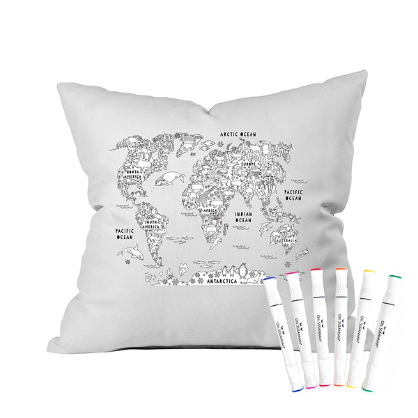 World Map Color Me Coloring Standard Size Pillowcase (1 Pillow Cover 20 by 30 Inches) with Permanent Fabric Markers INCLUDED Doodle Pillowcase