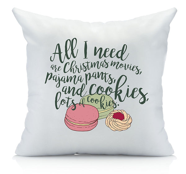 All I Need is Cookie Christmas Throw Pillow Cover Multicolor (1 18 by 18 Inches) Christmas Gifts
