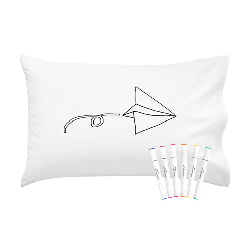 "Colorable Flying Airplane Pillowcase With Markers (Standard Size 20x30"")"