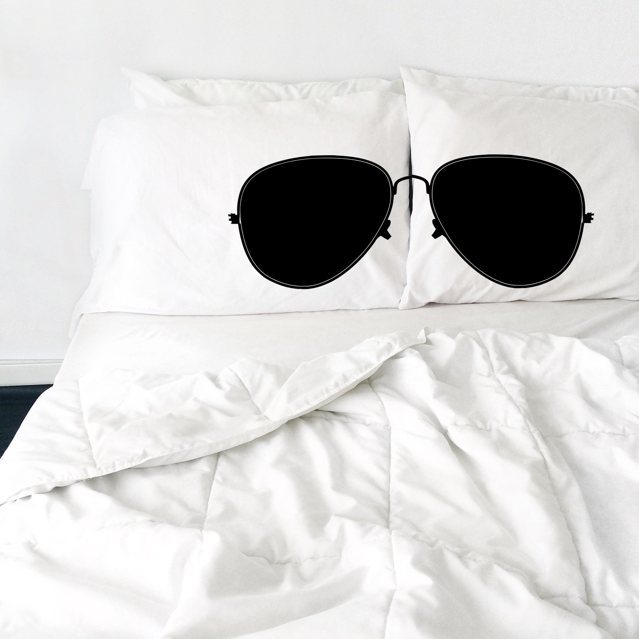 "Aviator Sunglasses Pillowcases (White and Black)  2 Queen/Standard Pillowcases (20x30"")"