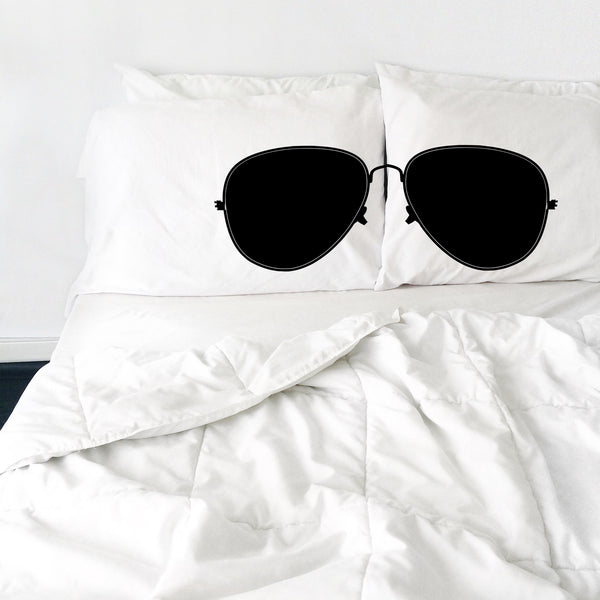Aviator Sunglasses Pillowcases (White and Black)  2 Queen/Standard Pillowcases (20x30