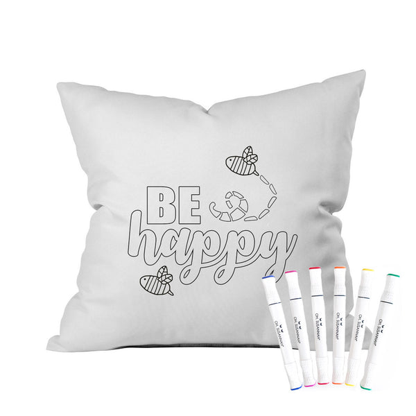 "Colorable ""Be Happy"" Pillowcase With Markers (18x18"")"