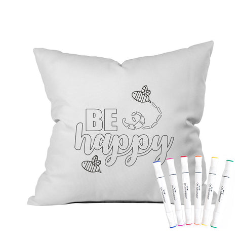 Be Happy Pillowcase With Markers 18 x 18 Throw Pillow