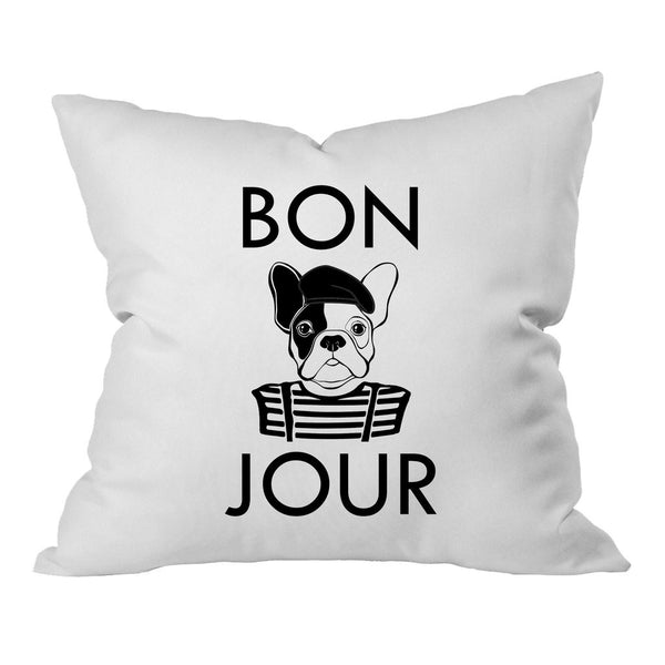 Bold Bonjour Bulldog Black Font 18x18 Inch Throw Pillow Cover