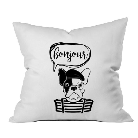 Bonjour Bulldog Black Font 18x18 Inch Throw Pillow Cover