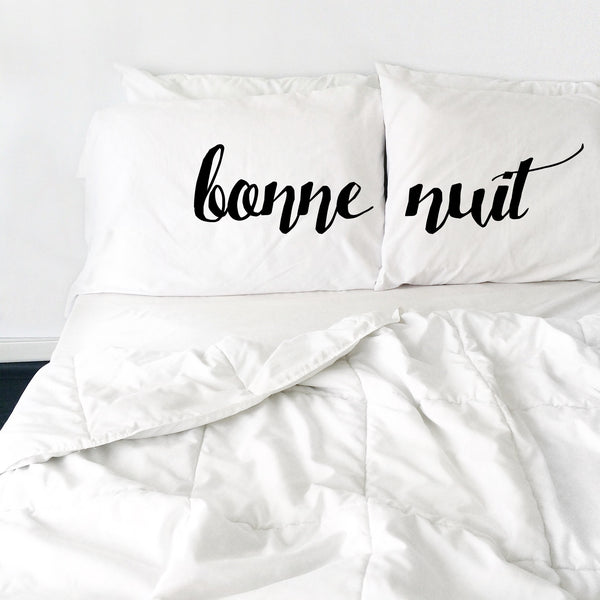 Bonne Nuit Pillowcases Cursive Font - Set of 2 - Fits Standard/Queen Pillows