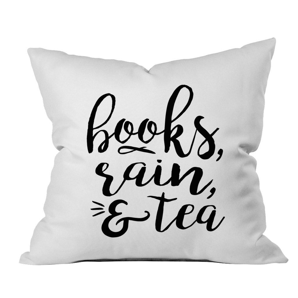Books, Rain, & Tea Book Lovers 18x18 Inch Throw Pillow Cover
