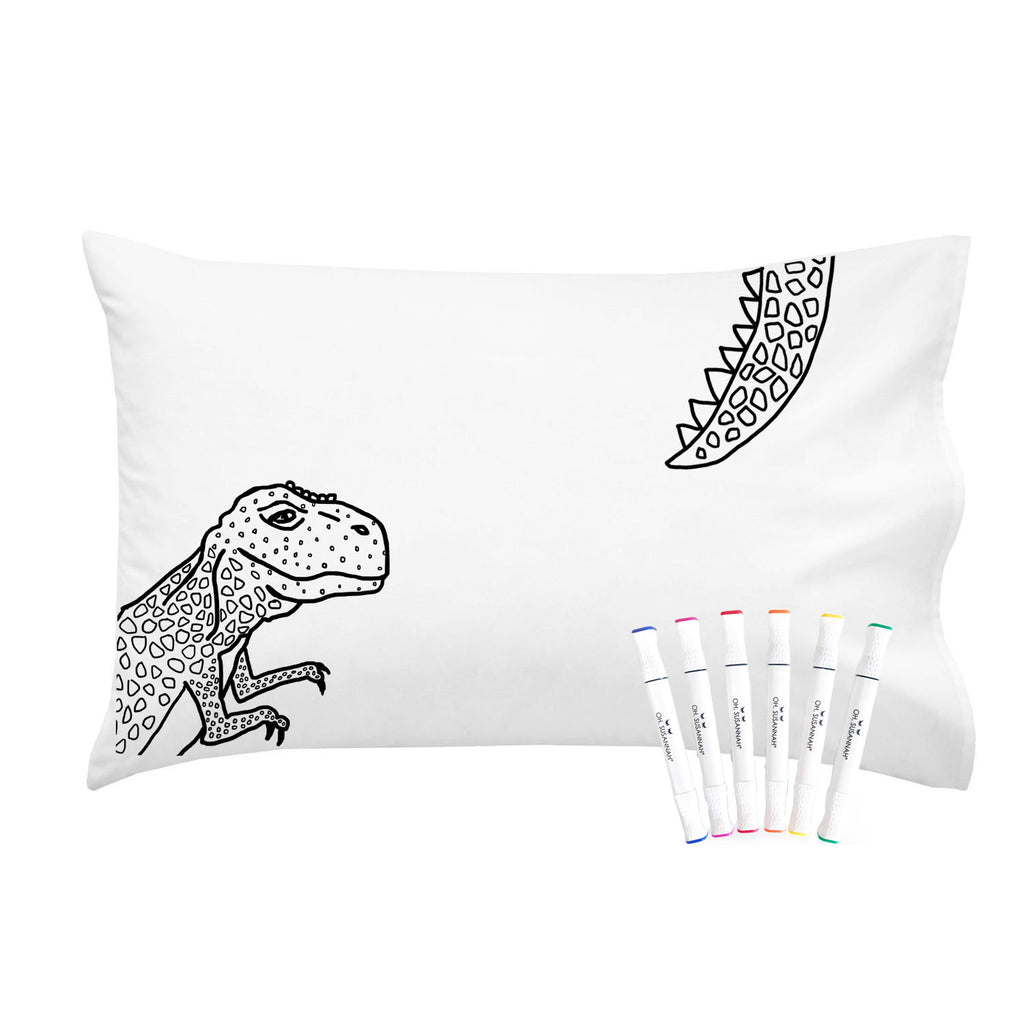 Dinosaur Pillowcase With Markers 20 x 30 Standard Size