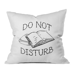 """Do Not Disturb"" Book Lovers Throw Pillow Cover (18x18"")"