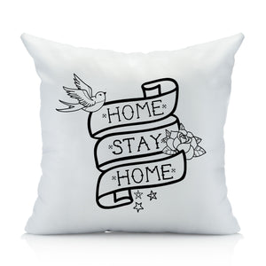 Home Stay Home Tattoo-Style Throw Pillow Case