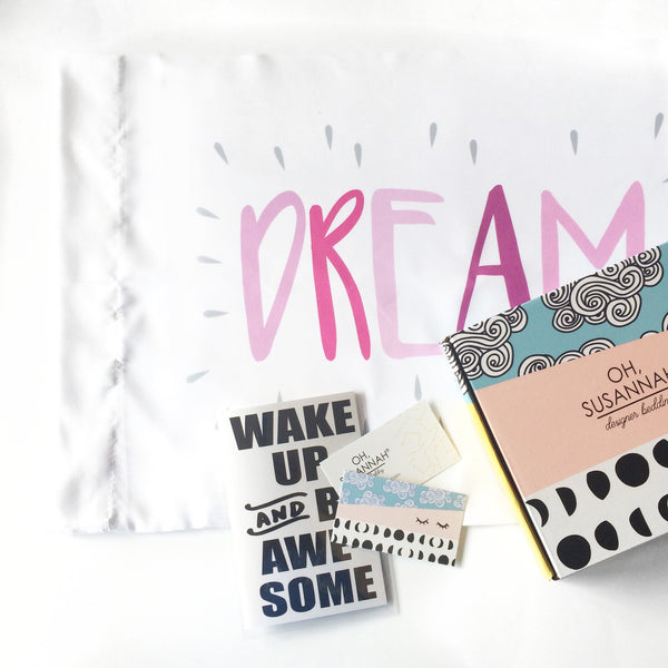 Dream Kids Pink and GrayPillowcase