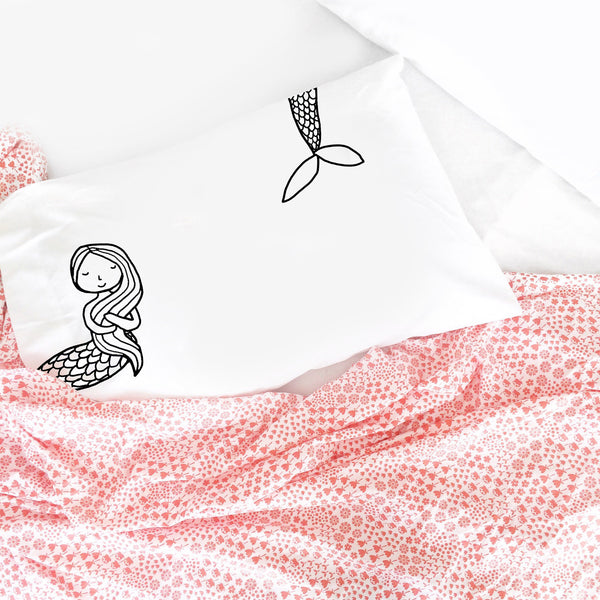 Black and White Colorable Mermaid Pillowcase Standard Size 20X30
