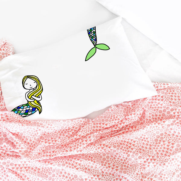 Blonde Mermaid Pillowcase Standard Size 20X30""