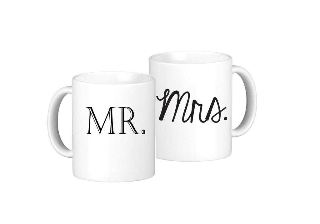 Oh, Sususannah Mr & Mrs Mug Set - 2 11oz Coffee Mugs - White Gift Box Packaging