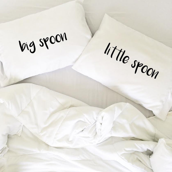 Big Spoon Little Spoon Bold Font Pillow Cases