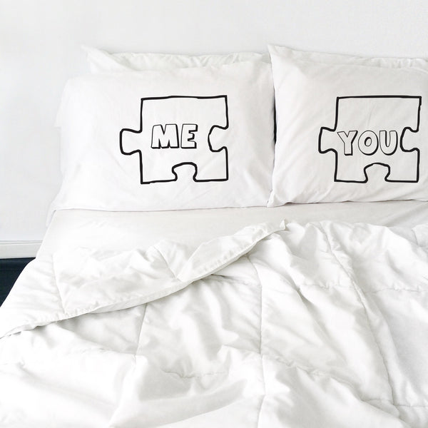 Puzzle Piece Couples Pillowcases (2 Standard/Queen Pillowcases)