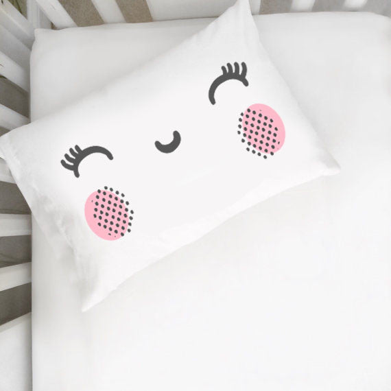 Pink Cheeks Smiley Face Toddler Pillowcase