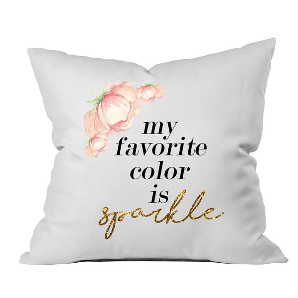my favorite color is sparkle 18x18 Inch Throw Pillow Cover