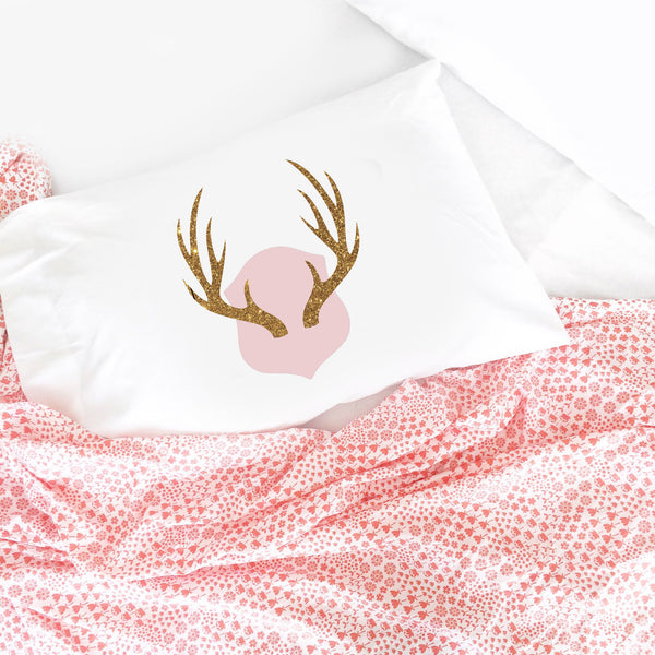 "Antlers Pillowcase - Pink and Sparkle (Standard Size 20X30"")"
