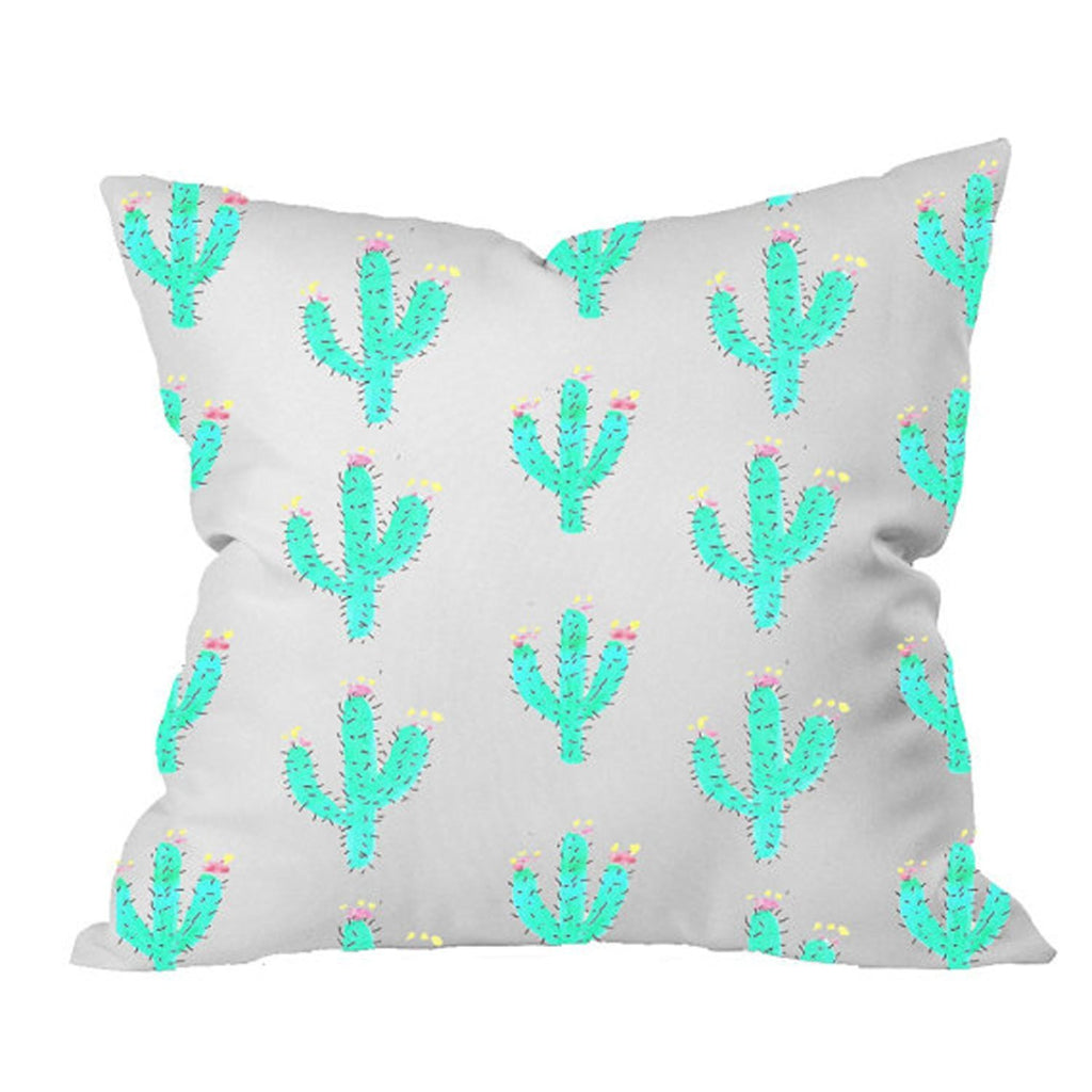 Cactus Throw Pillowcase - Cute Throw Pillowcase (1 18x18 inch, Green)