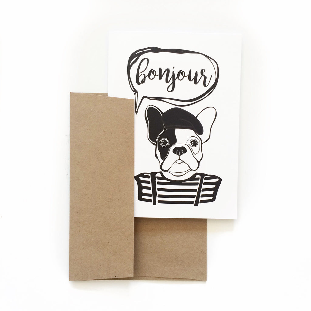 Bonjour Bulldog Greeting Card