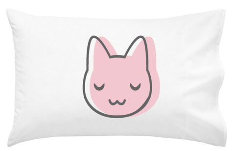Pink Cat Face Pillowcase