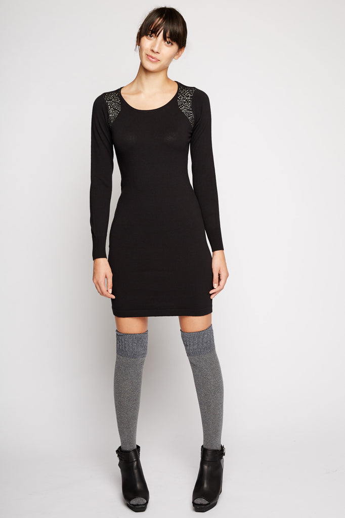 Stud Shoulder Sweater Dress by Peppercorn