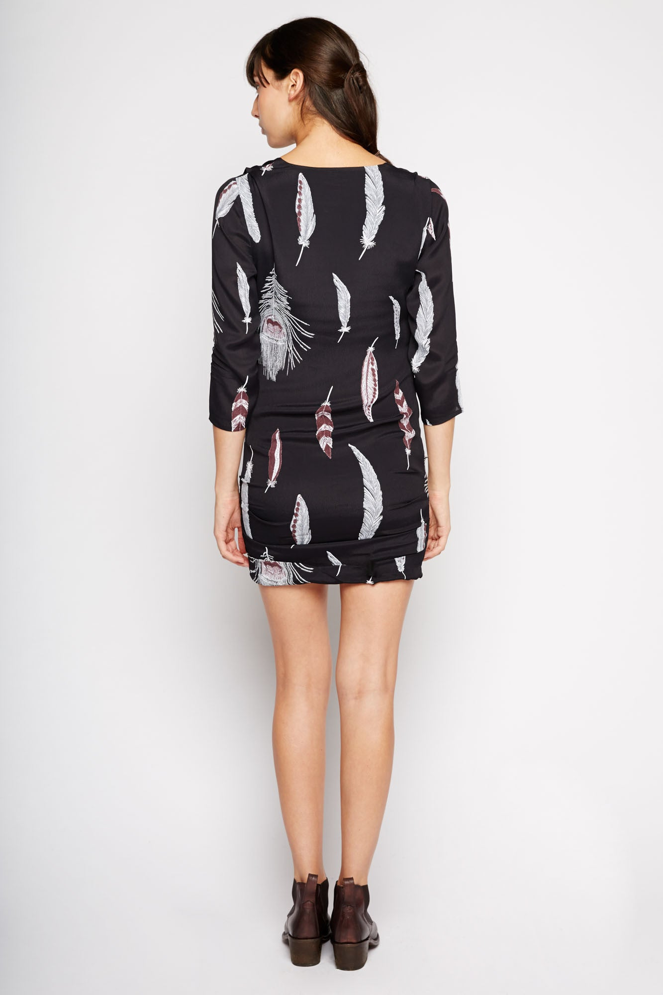 Karam Feather Print Dress by Line and Dot