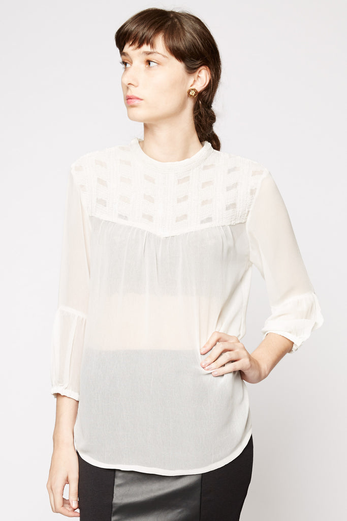 Peppercorn SIW Embroidered Sheer Blouse