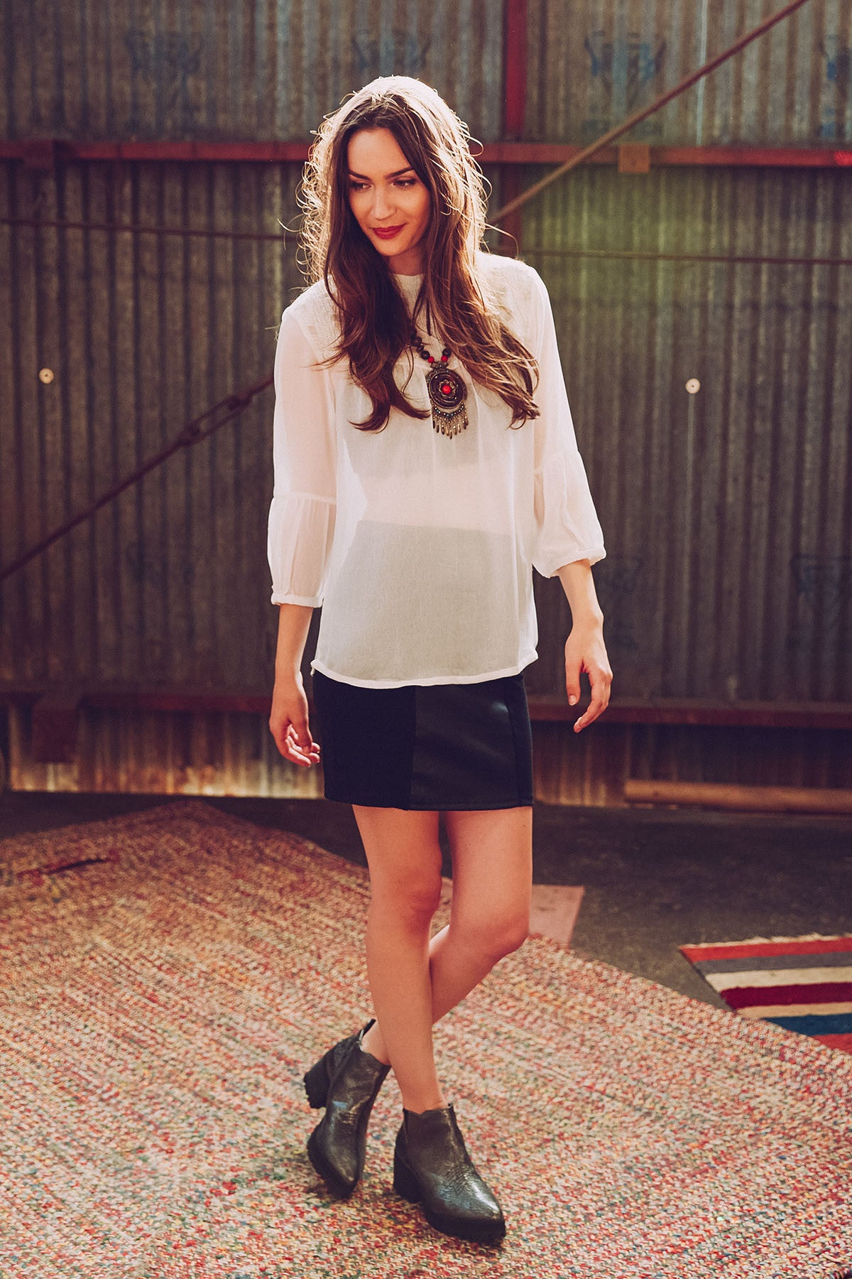 Eirene Embroidered White Blouse by Peppercorn