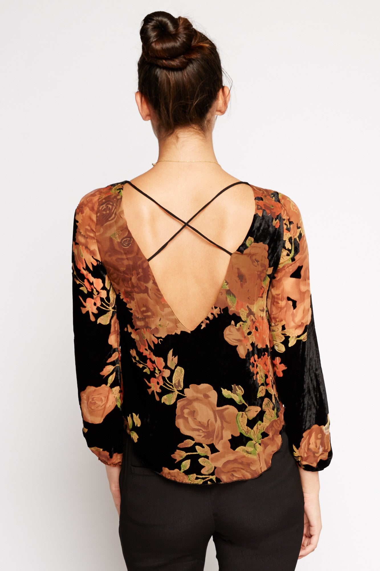 Andromeda Floral Crop Blouse by Line and Dot