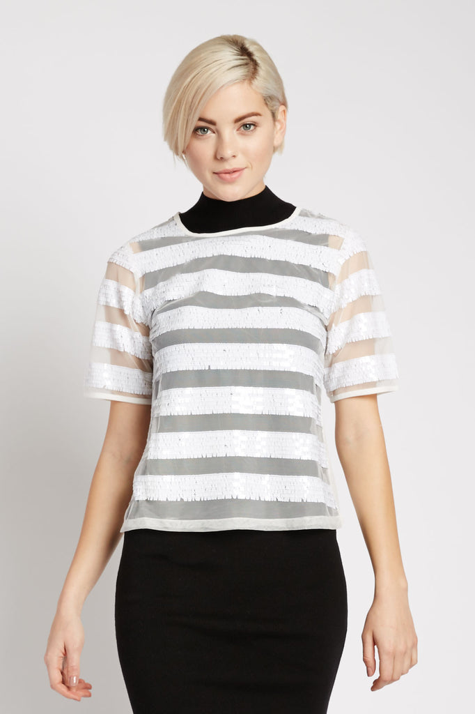 Samyukta Sequin Stripe Top by Three of Something