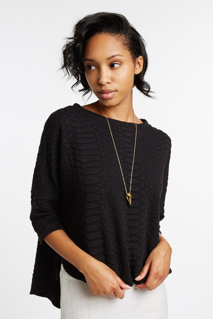 Erasmus Black Textured Top by d.Ra
