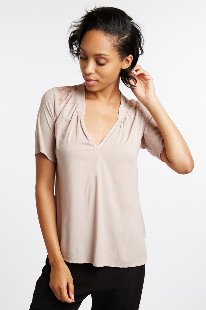 da Vinci Lace Detail Blouse in Natural by Cameo