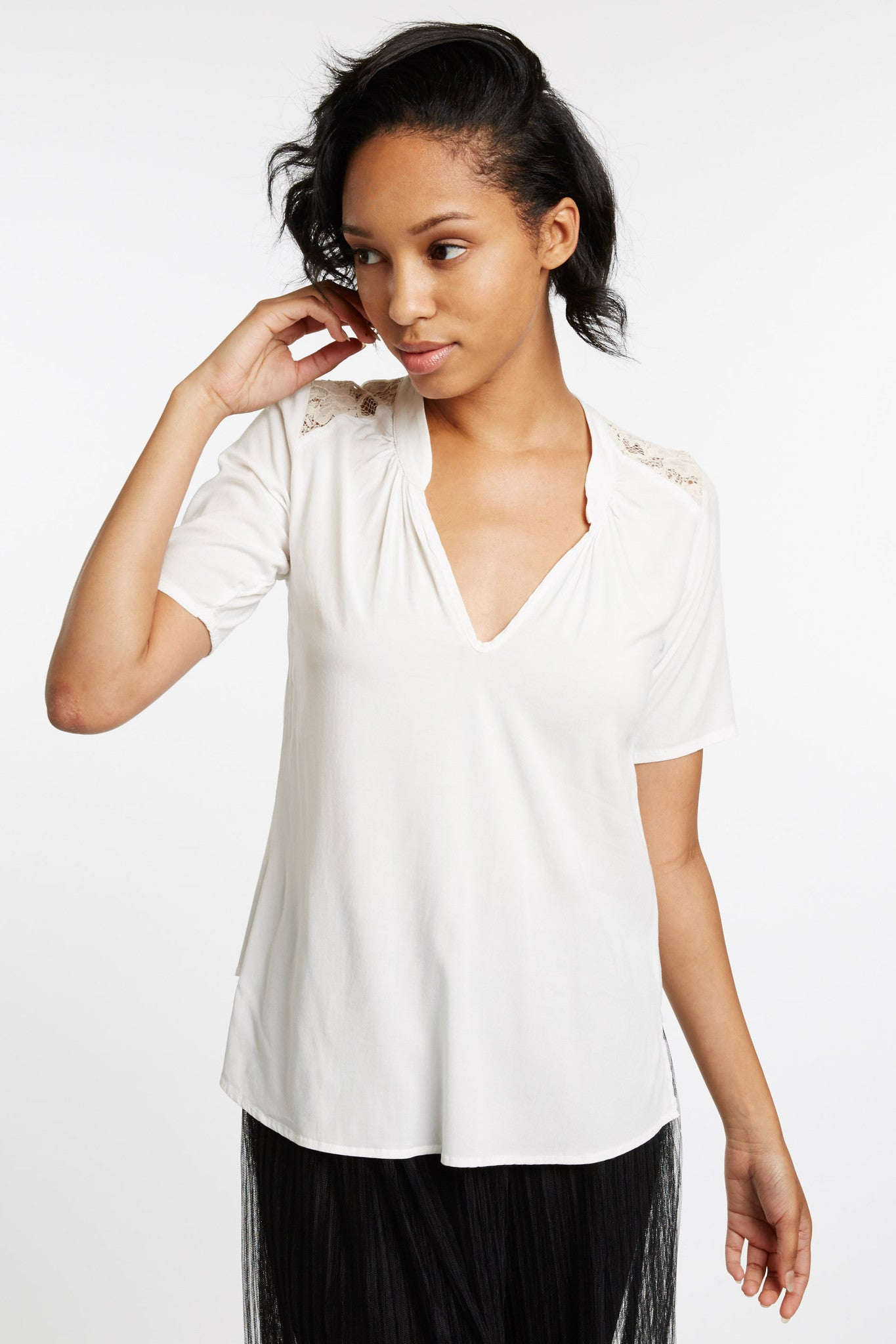 da Vinci Lace Detail Blouse in White by Cameo