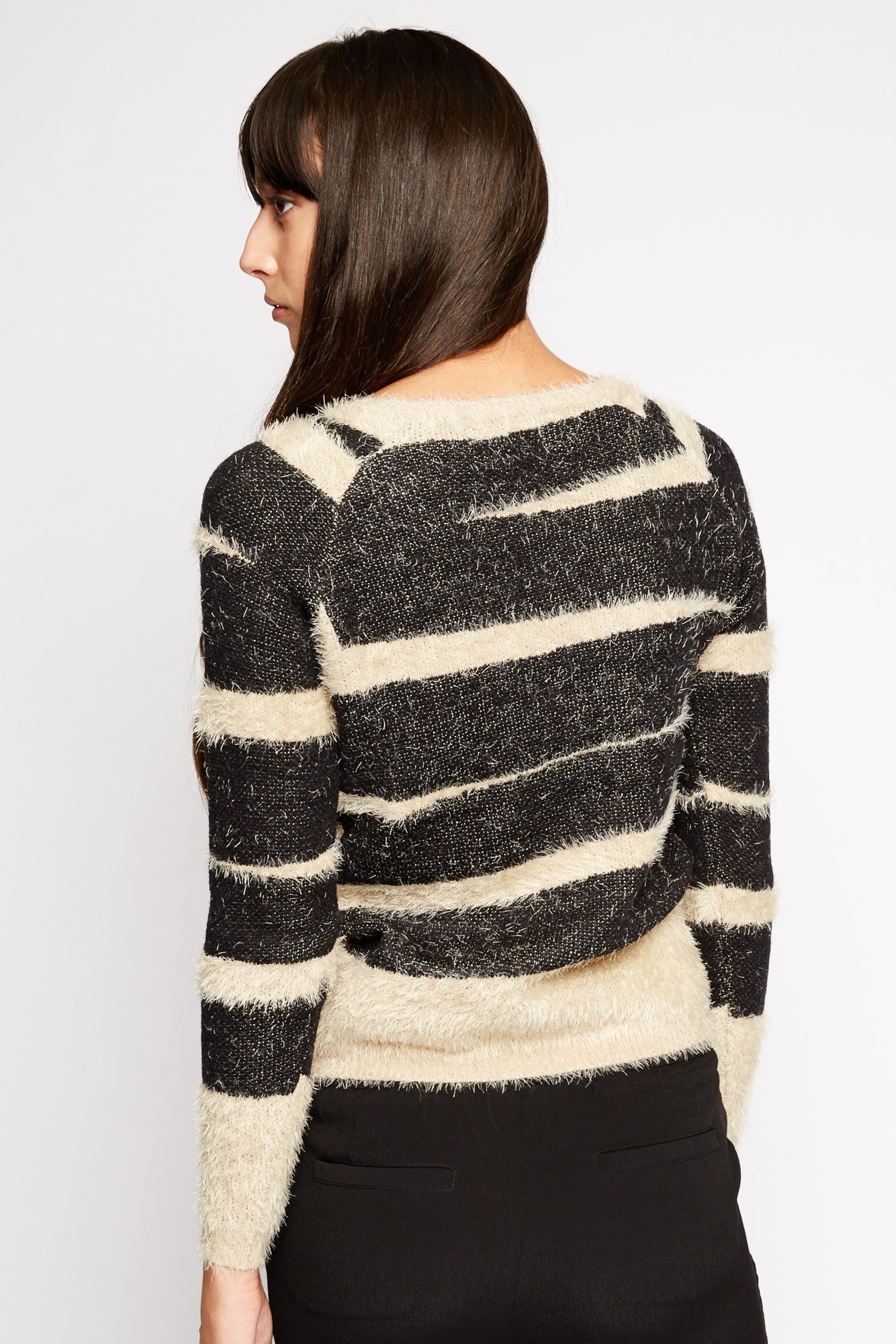 Cygnus Striped Fuzzy Sweater