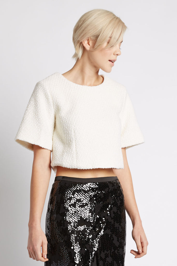 Anjuli Shearling Cropped Sweater by Line and Dot