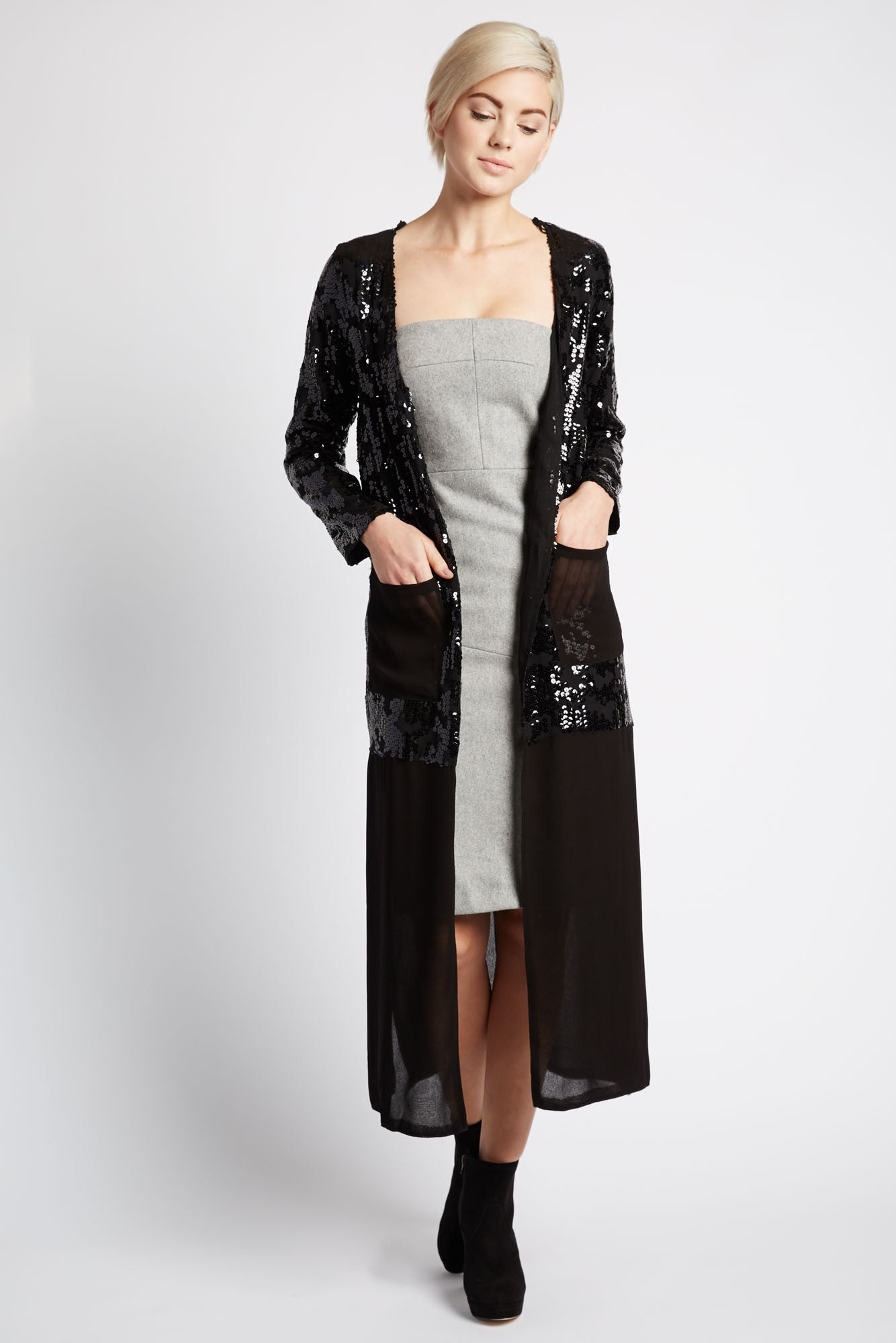 Kunti Long Sequin Cardigan by Line and Dot