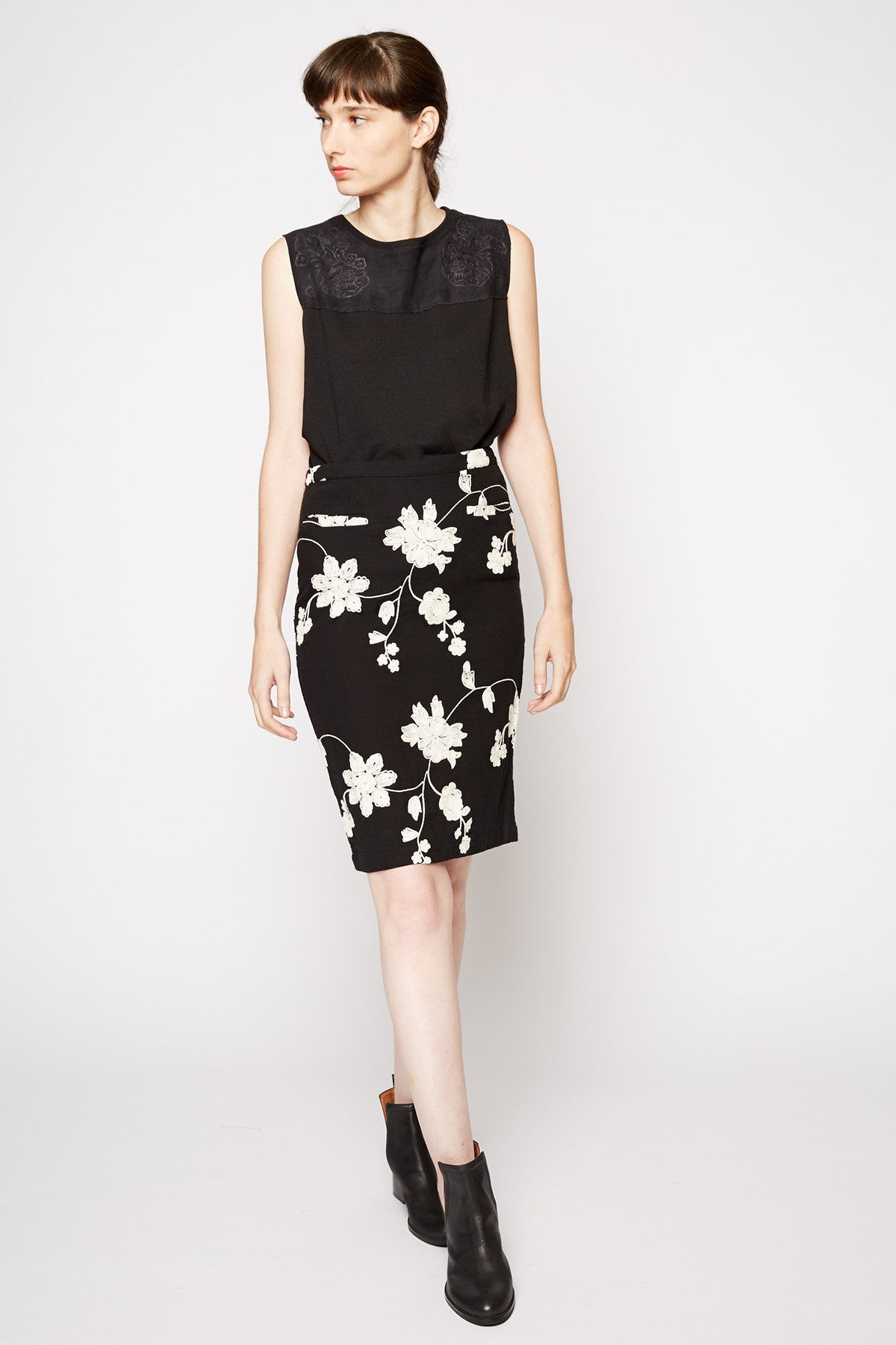 Tulle Below the Knee Pencil Skirt
