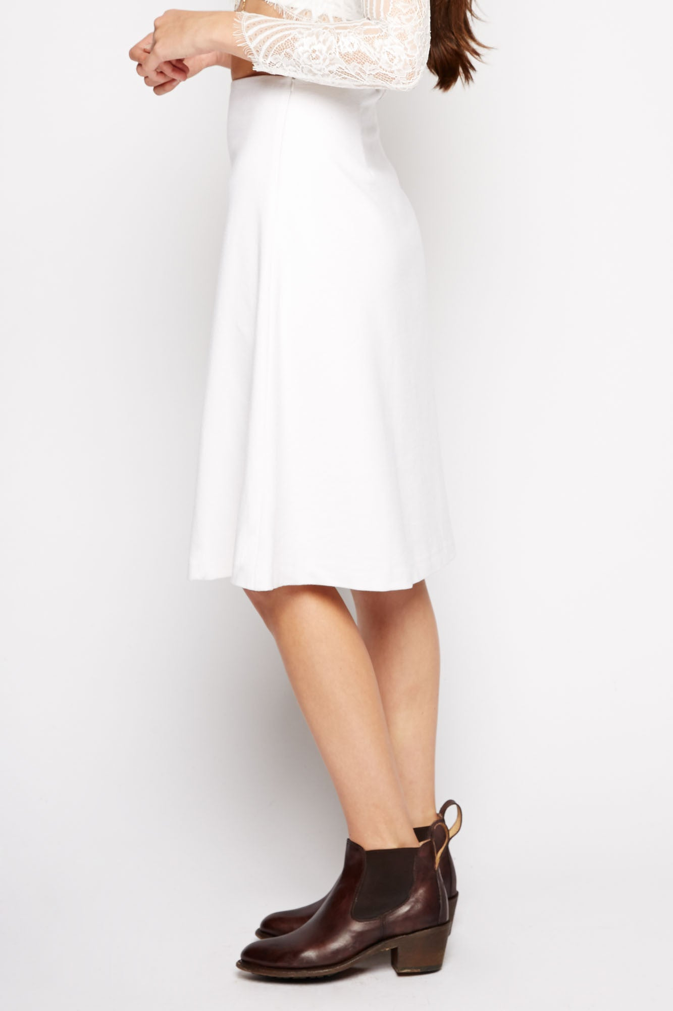 Akkadevi White Midi Skirt by Line and Dot