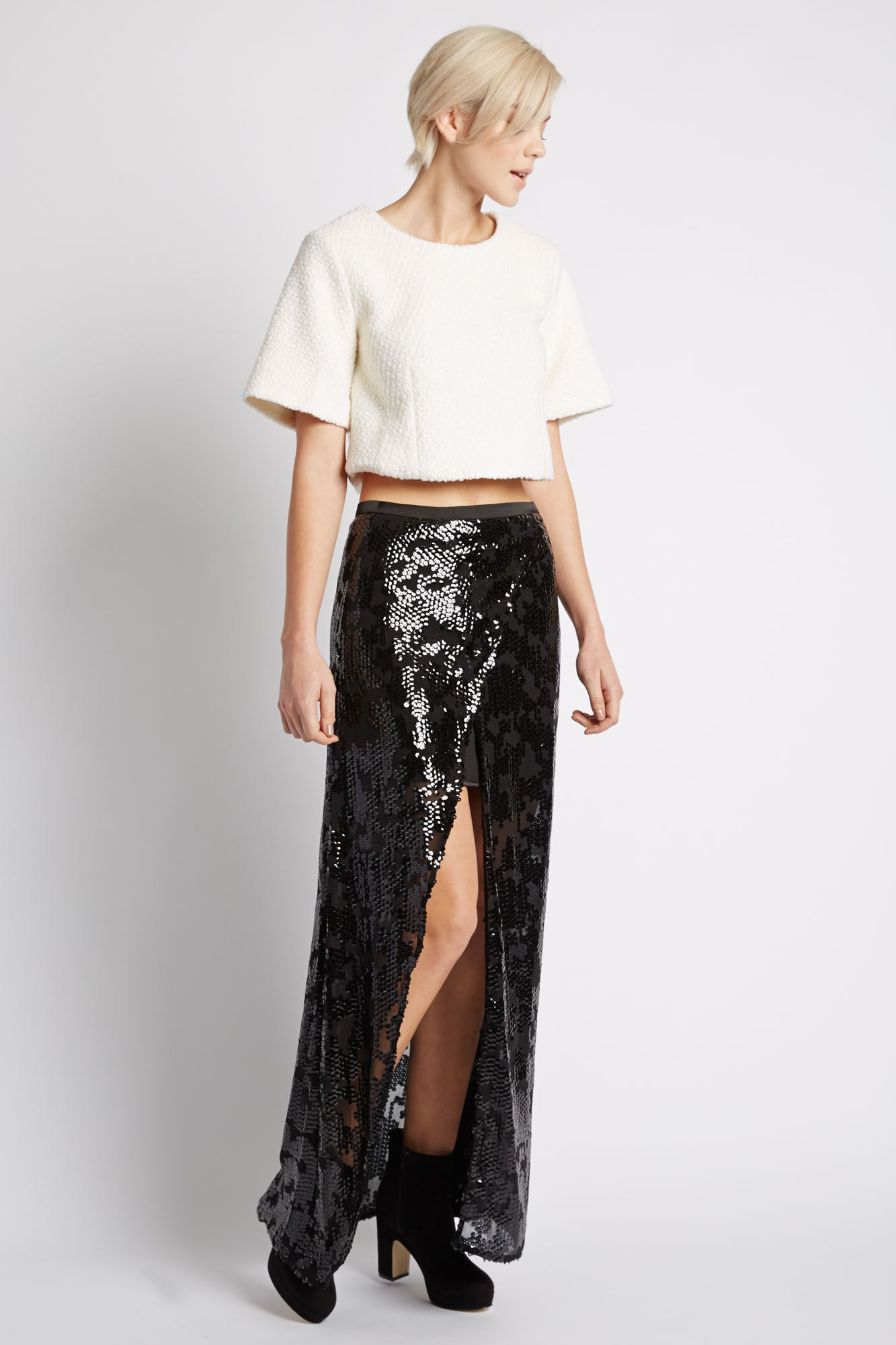 Kunti Sequin Slit Skirt