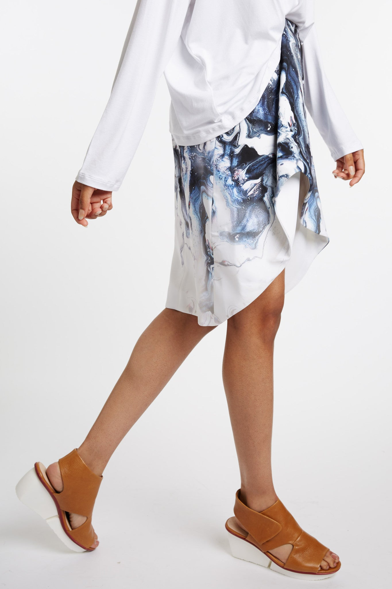Rabelais Printed Skirt with Origami Hem
