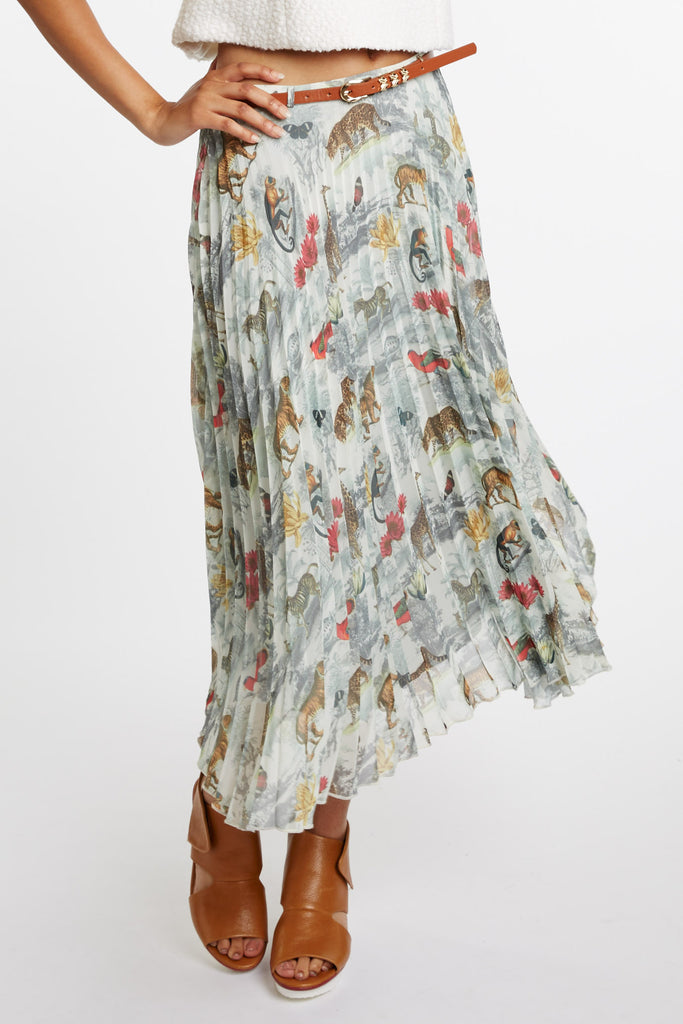 Safari Print Pleated Midi Skirt by Uttam Boutique
