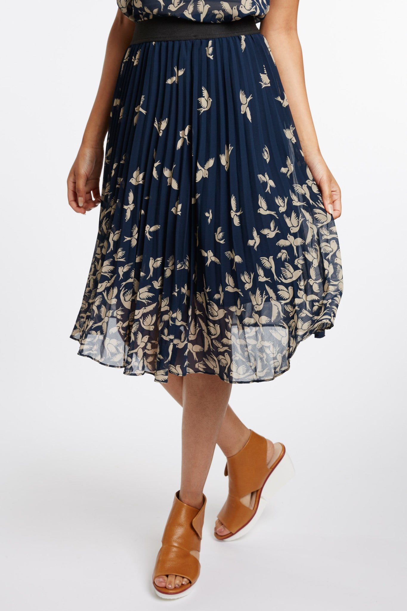 Campanella Pleated Bird Print Skirt by Kling