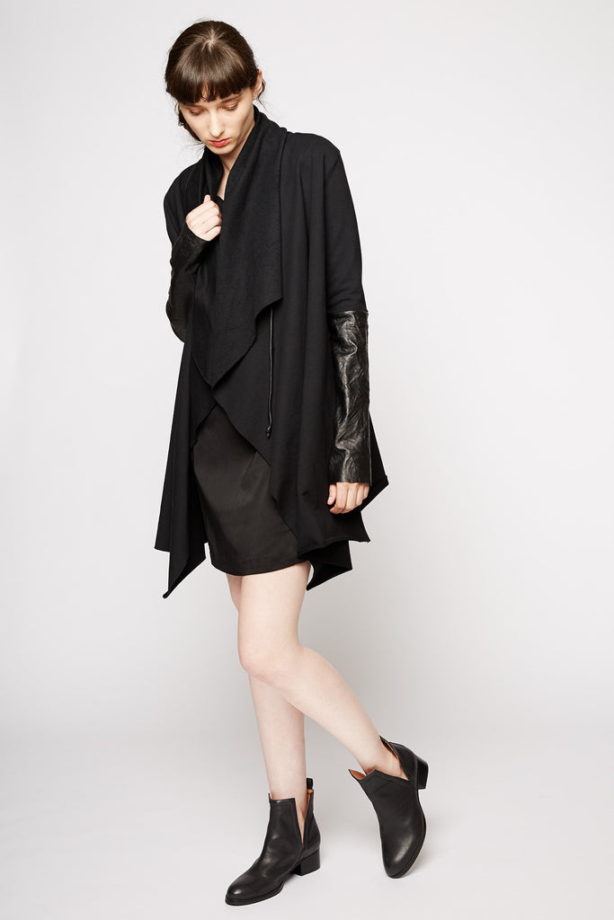 Ovate Leather Sleeve Cardigan