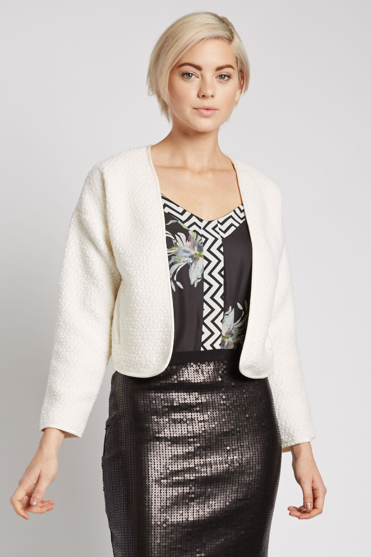 Anjuli Shearling Cropped Jacket by Line and Dot
