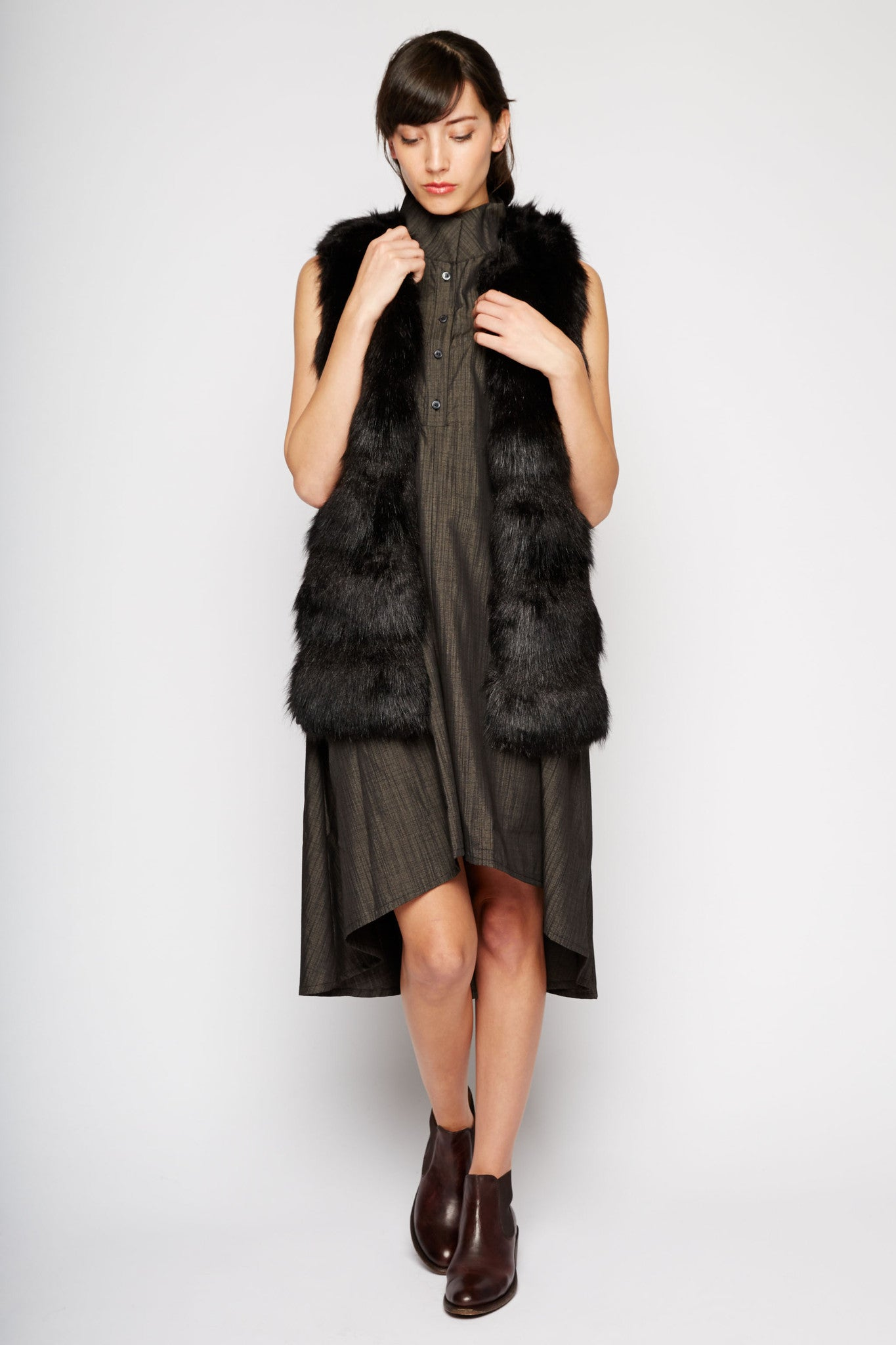 Triangulum Black Fur Vest by Bardot