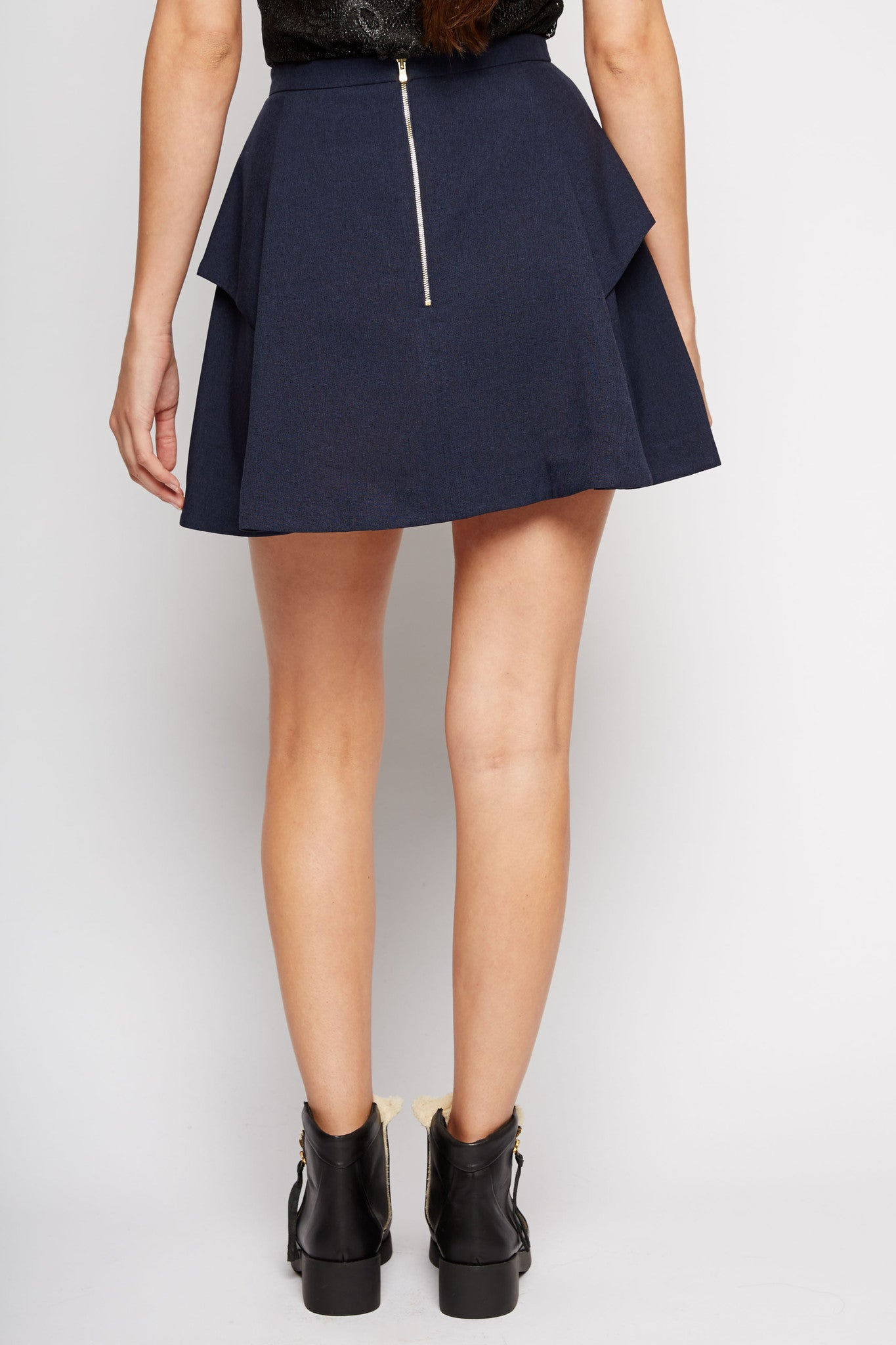 Antilla Pleated A-Line Skirt in Navy